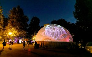 projection dome with external projection in moscow